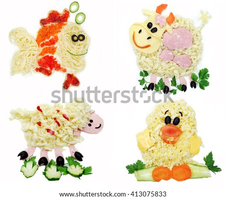 creative vegetable food meal with spaghetti animal form collage - stock photo