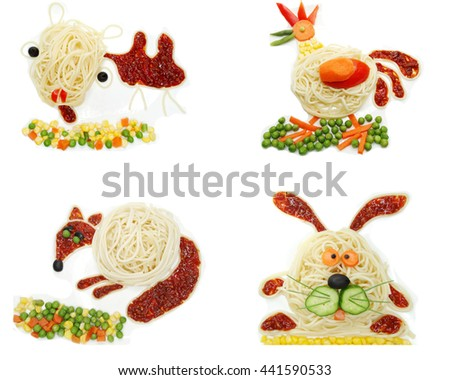 creative vegetable food meal with spaghetti camel form - stock photo