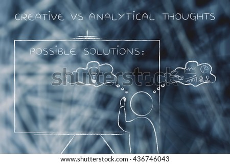 creative vs analytical thoughts: man writing on blackboard while elaborating imaginative thoughts (right side of his brain) and logical reasonings (his left side) - stock photo
