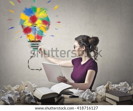 Creative woman at work - stock photo