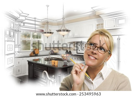 Creative Woman With Pencil Over Custom Kitchen Design Drawing and Photo Combination on White. - stock photo