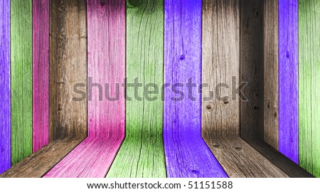 Creative Wooden Room. Welcome! More similar images available. - stock photo