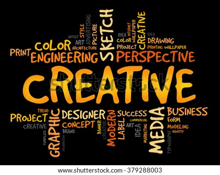 CREATIVE word cloud, business concept - stock photo