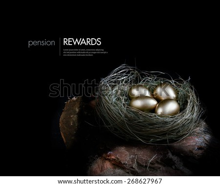 Creatively lit concept image for pension investments and financial planning. Gold eggs nestled in a real birds nest resting on dark wood against a dark background. Copy space. - stock photo