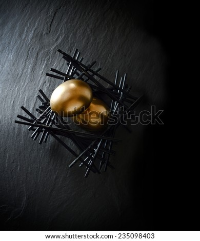 Creatively lit concept image for your brochure page layouts for pension fund management. Gold goose eggs in a stark black birds nest on grey slate. Aerial view with copy space. - stock photo