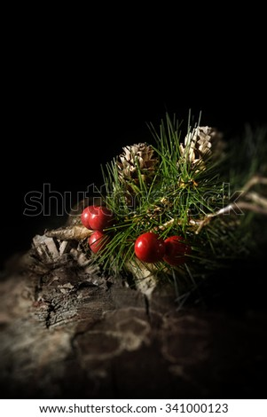 Creatively lit, festive concept image for either Christmas or Thanksgiving. Fir tree needles and cones with red berries against a dark background in a rustic setting. Accommodation for copy space. - stock photo