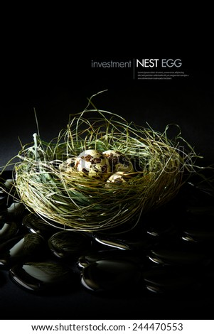 Creatively lit genuine quails eggs in a grass nest against a dark background. Concept image for pension or financial investments. Copy space. - stock photo