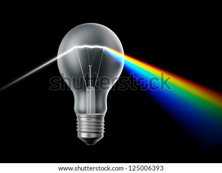 Creativity and innovation concept - bulb acting as a prism - stock photo