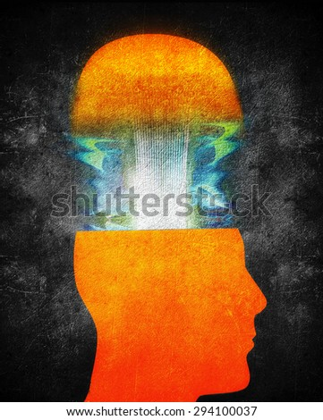 creativity concept illustration with orange human head  - stock photo
