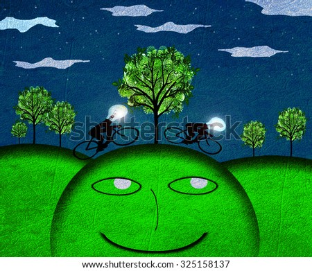 creativity concept nocturne landscape digital illustration - stock photo