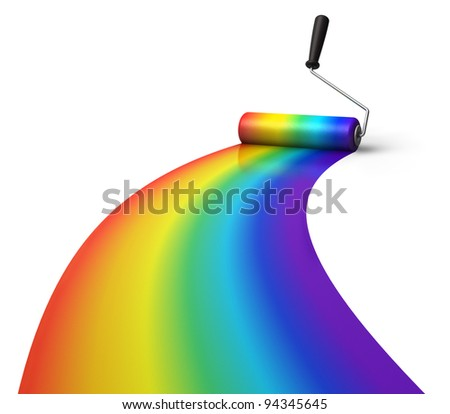 Creativity concept: rainbow coloring with roller brush isolated on white background - stock photo