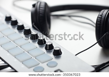 creativity.headphones and beat makers kit. production of electronic music. soft focus - stock photo