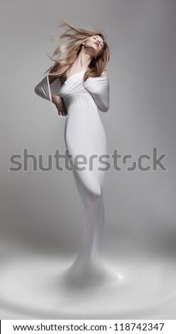 Creativity. Revival. Venus woman aphrodite in fantastic pose - fantasy - stock photo