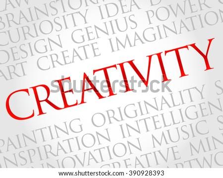 Creativity word cloud concept - stock photo