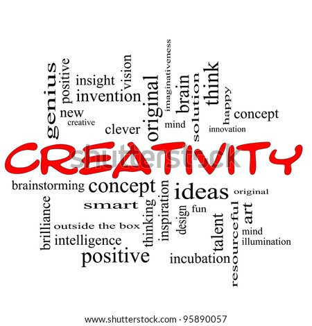 Creativity Word Cloud Concept scribbled in red with great terms such as happy, innovation, fun, incubation, ideas and more. - stock photo