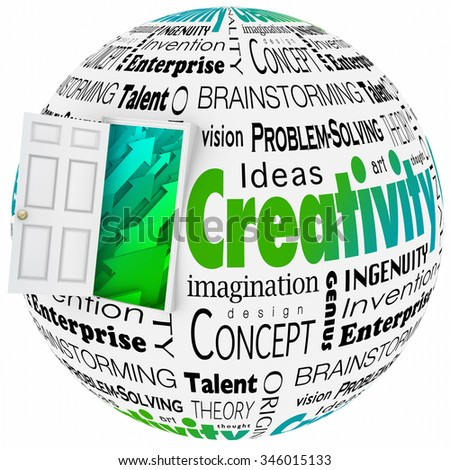 Creativity word in a collage with open door to arrows symbolizing growth, including brainstorming, innovaiton, invention, vision and problem-solving - stock photo
