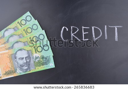 Credit Australian Dollars - stock photo