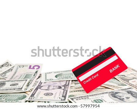 Credit card and American dollar bills - stock photo