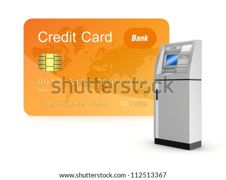 Credit card and ATM.Isolated on white background.3d rendered. - stock photo