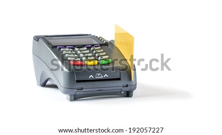 Credit card and card reader machine,isolate on white background - stock photo
