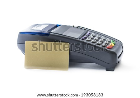 Credit card and card reader machine isolated on white background - stock photo