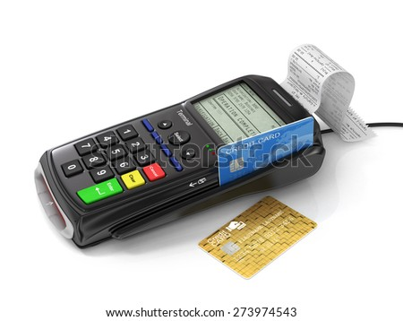 Credit card and card reader machine on tht white background. Paymant terminal. Payment concept. - stock photo