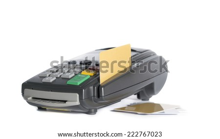 Credit card and card reader machine on white background - stock photo