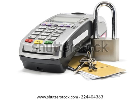 Credit card and card reader machine with key , Isolated on white background - stock photo