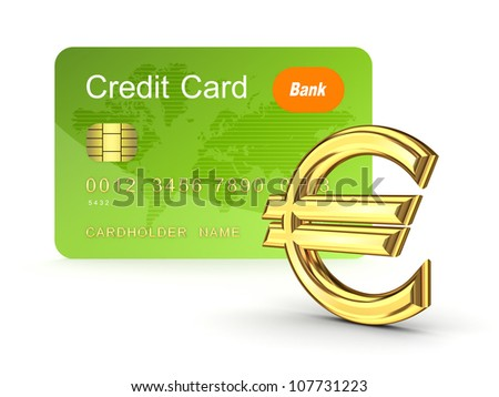 Credit card and euro sign.Isolated on white background.3d rendered. - stock photo
