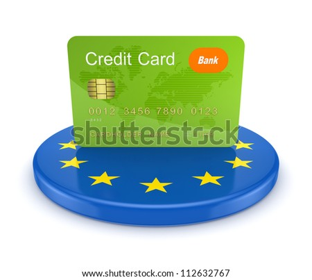 Credit card and European Union symbol.Isolated on white background.3d rendered. - stock photo