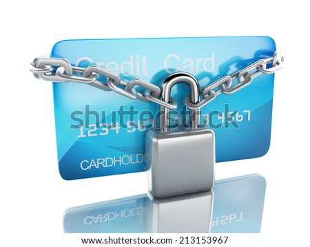 Credit Card and lock.safe banking concept on white background - stock photo