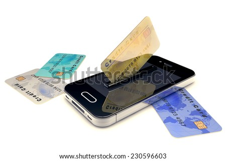Credit Card and mobile phone. Online payment concept Conceptual view about checkouts or payments over Internet and mobile devices. - stock photo