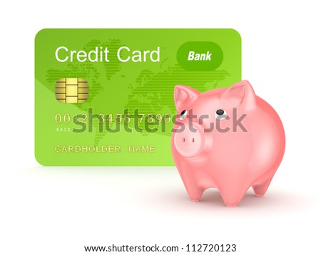 Credit card and pink piggy bank.Isolated on white background.3d rendered. - stock photo