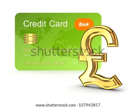 Credit card and pound sterling sign.Isolated on white background.3d rendered. - stock photo