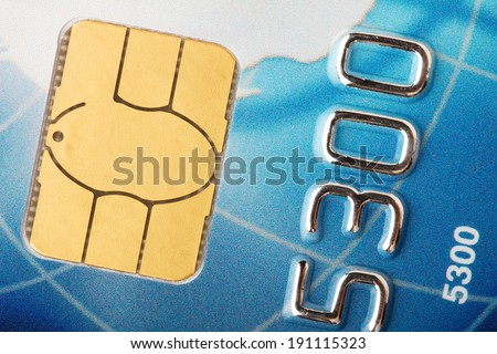 Credit card chip macro - stock photo