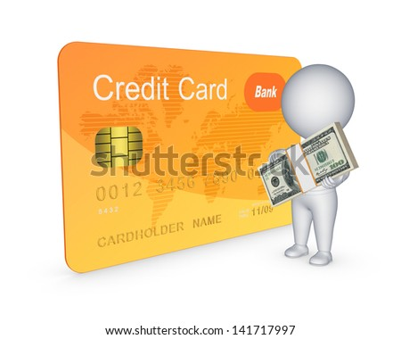 Credit card concept.Isolated on white.3d rendered. - stock photo