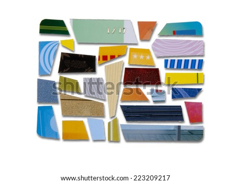 credit card cut into many pieces - stock photo