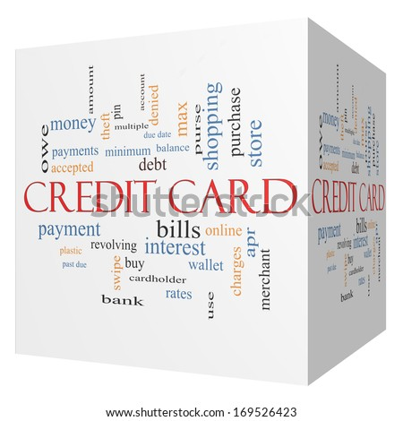Credit Card 3D Cube Word Cloud Concept with great terms such as debt, balance, interest, charges and more. - stock photo
