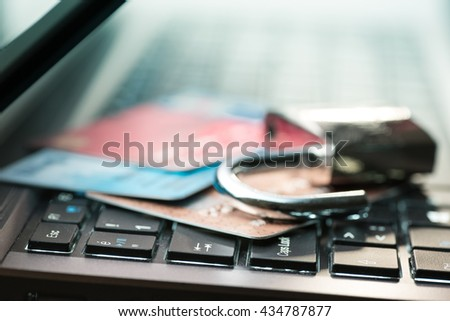 Credit card data security concept - stock photo