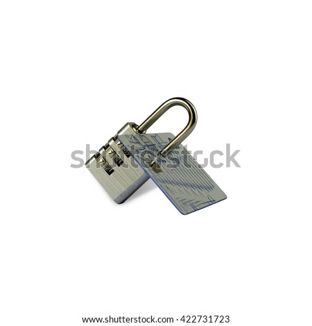 Credit card data security concept / Data encryption on credit card / Secure internet payments - stock photo