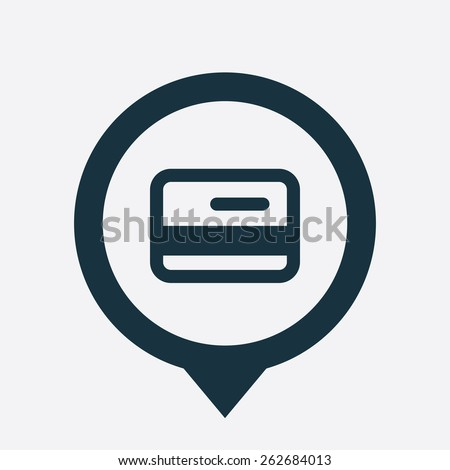 credit card icon map pin on white background  - stock photo