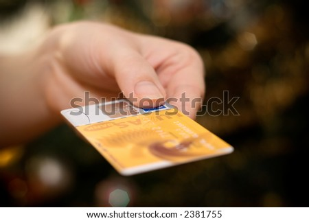 Credit Card in Hand - stock photo