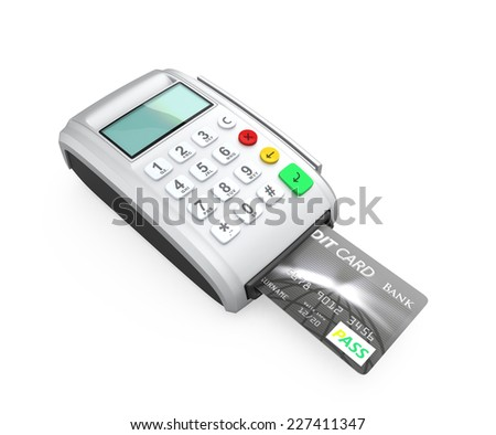 Credit card inserted into a silver card-reader, isolated on white background. - stock photo