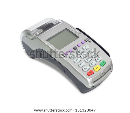 Credit card machine (with clipping path) isolated on white background - stock photo