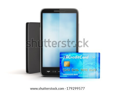 Credit card, modern cell phone and leather wallet - stock photo