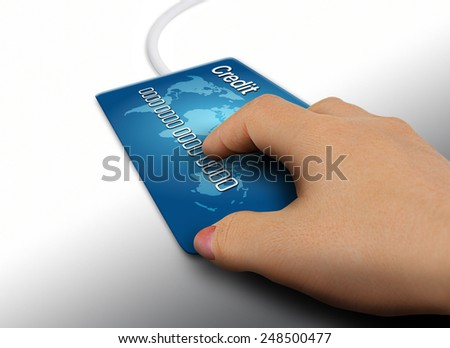 Credit card mouse - stock photo