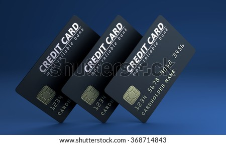Credit card on blue background - stock photo