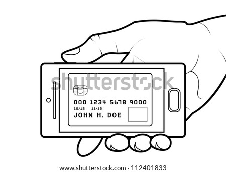 Credit card on smartphone screen. - stock photo