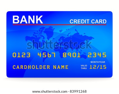 credit card on white. Isolated 3D image - stock photo