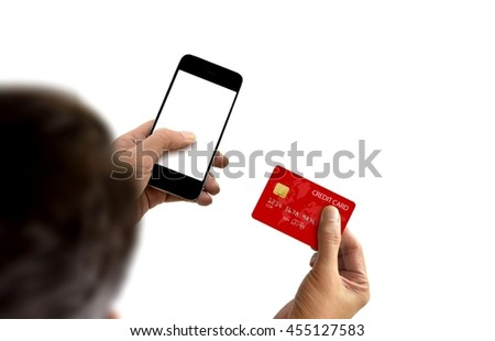 Credit card online transaction using smartphone - stock photo